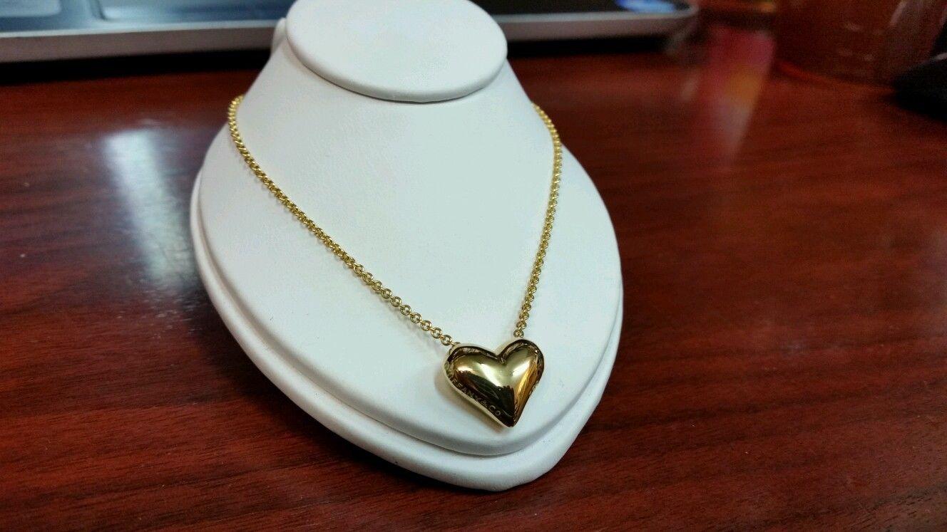Tiffany Co 18k Puffy Heart Necklace